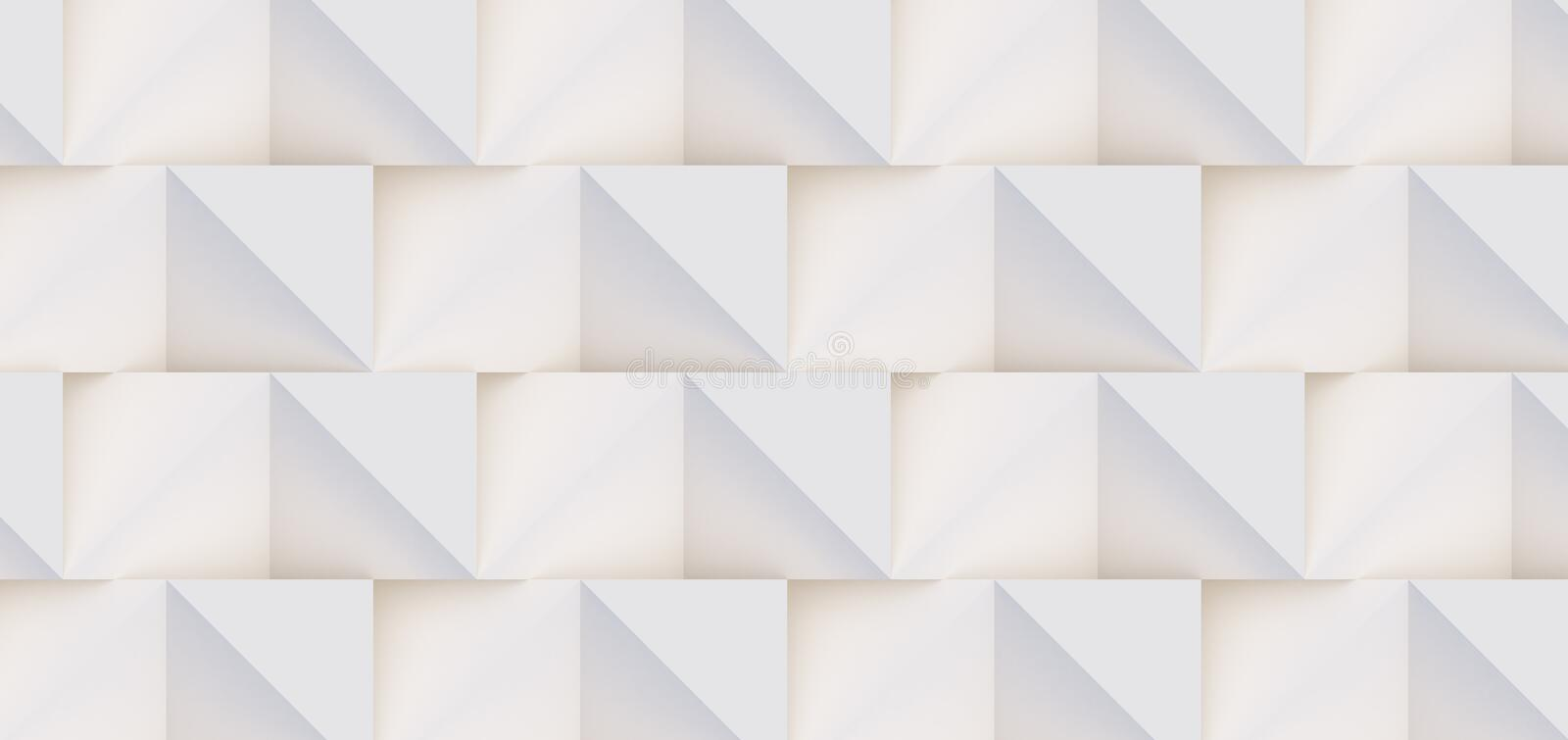3D pattern of white and beige geometric shapes. 3D pattern made of white and beige geometric shapes, creative background or wallpaper surface made of light and stock images