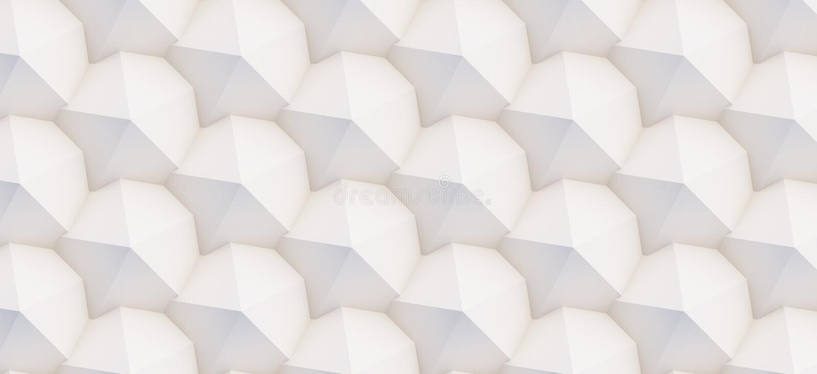 3D pattern of white and beige geometric shapes. 3D pattern made of white and beige geometric shapes, creative background or wallpaper surface made of light and royalty free stock images