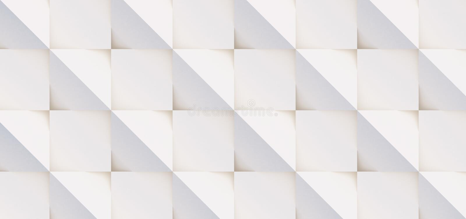 3D pattern of white and beige geometric shapes. 3D pattern made of white and beige geometric shapes, creative background or wallpaper surface made of light and royalty free stock image