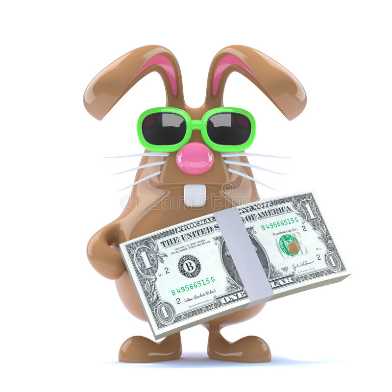 3d Payday bunny vector illustration