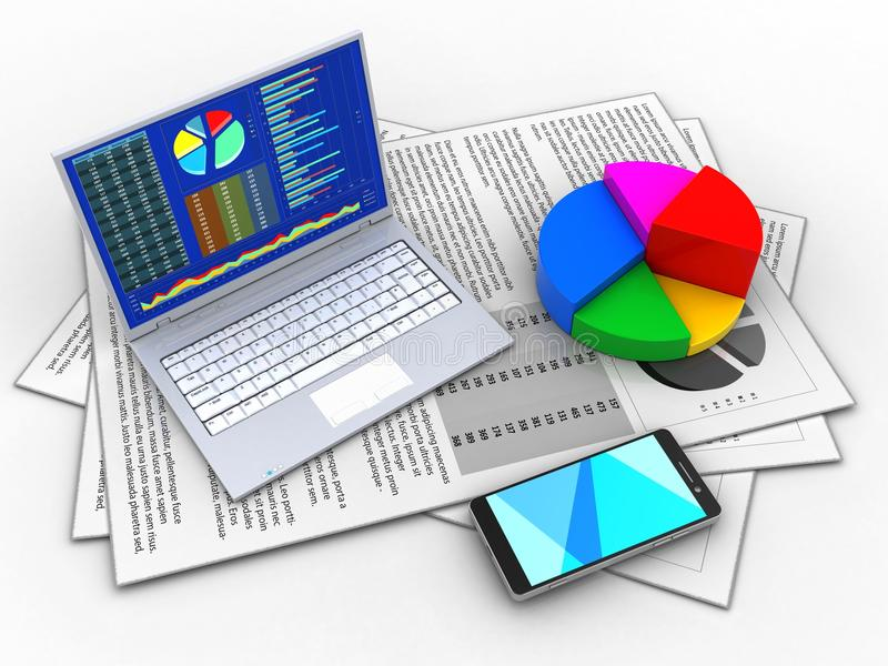 3d pc. 3d illustration of documents and pc over white background with pie chart royalty free illustration