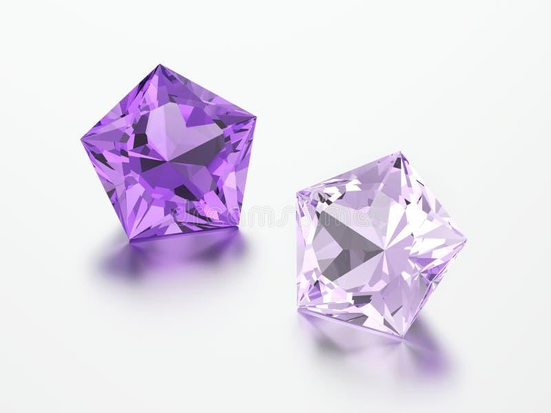3D pedras roxas dos diamantes do pentagon da ilustração dois ilustração stock
