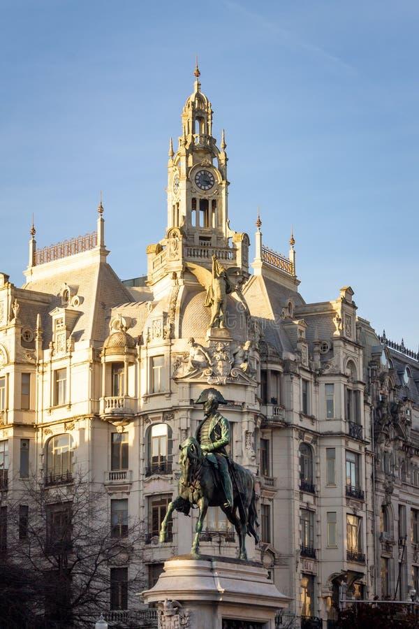D Pedro IV Standbeeld in Porto stock foto