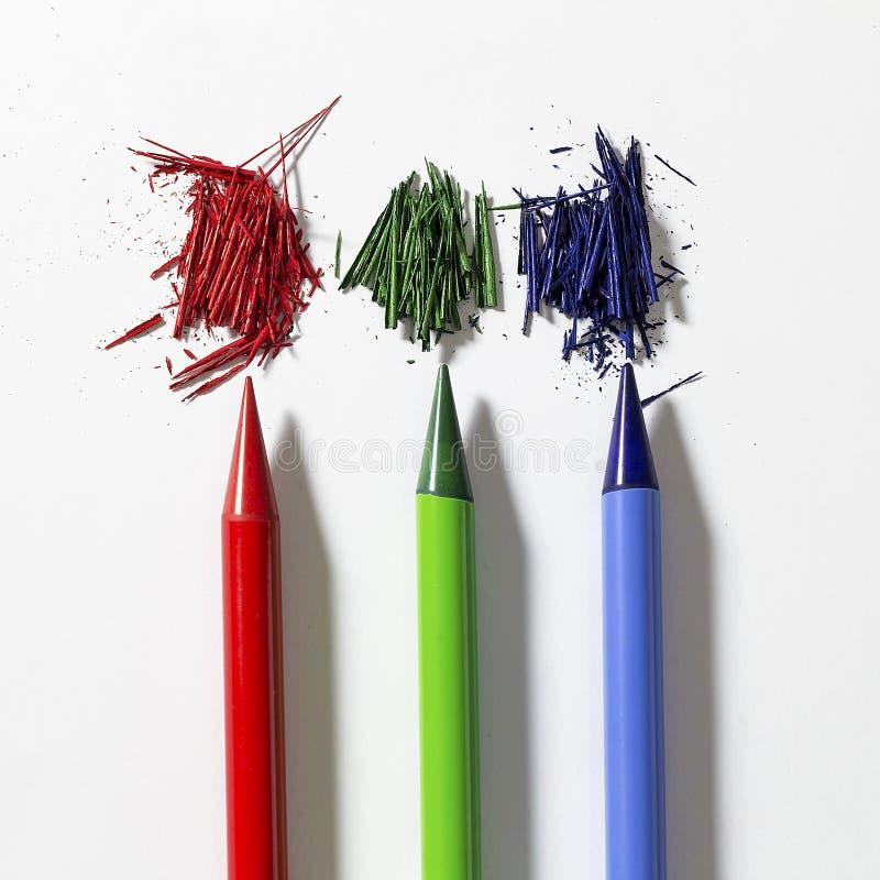 3d pencils rgb-white arkivbild