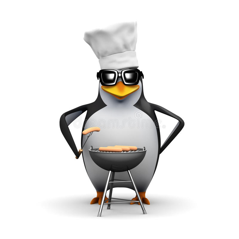 3d Penguin cooks a BBQ royalty free illustration