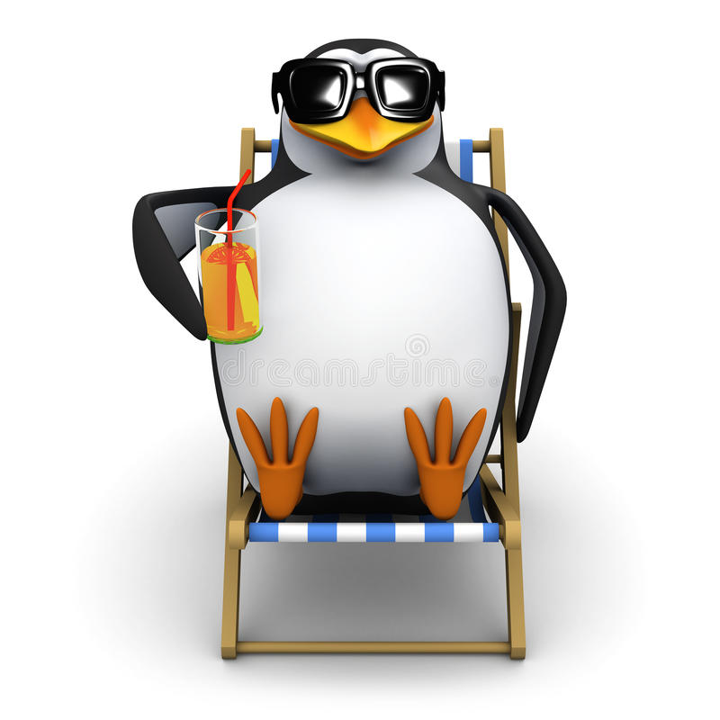 3d Penguin in a deckchair stock illustration