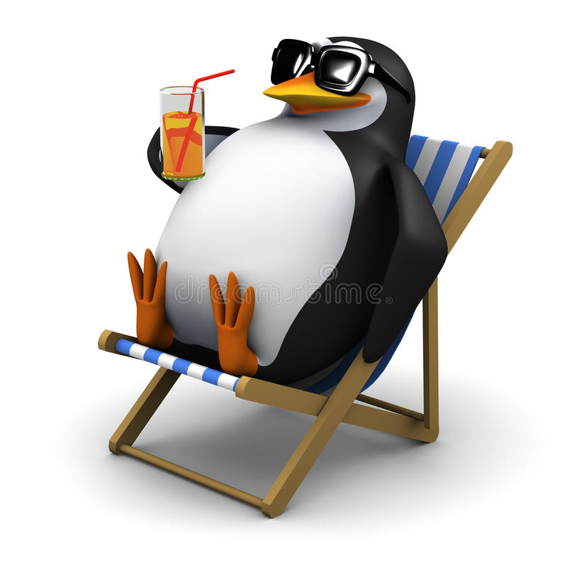 3d Penguin sunbathes with a drink royalty free illustration