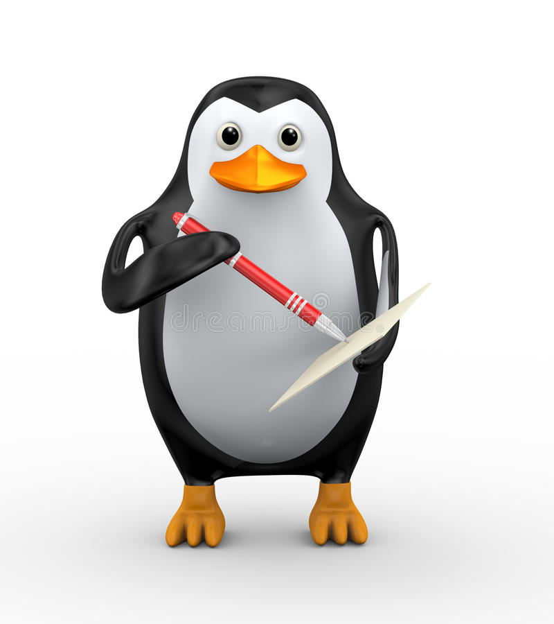 3d penguin writing with pen on paper. 3d illustration of penguin writing on page with red stylish red pen stock illustration