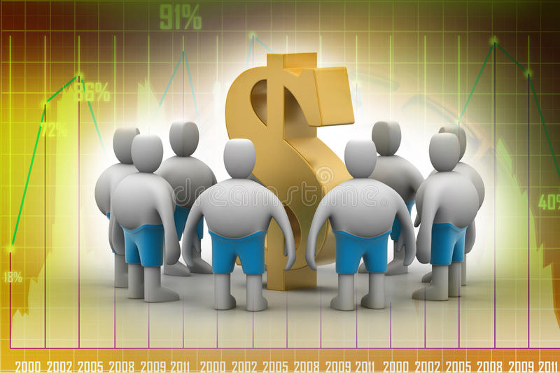 3D people around dollar sign. In color background royalty free illustration