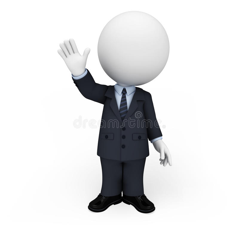 3d people as business man with bye sign