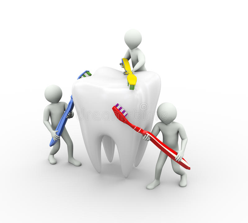 3d people brushing tooth vector illustration