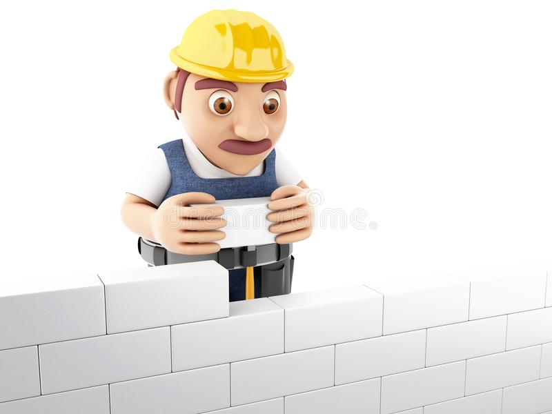 3d people building a brick wall. 3d render illustration. Worker building a brick wall. Isolated white background stock illustration