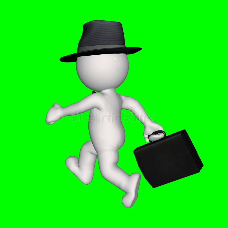 3D people - business man - green screen stock illustration