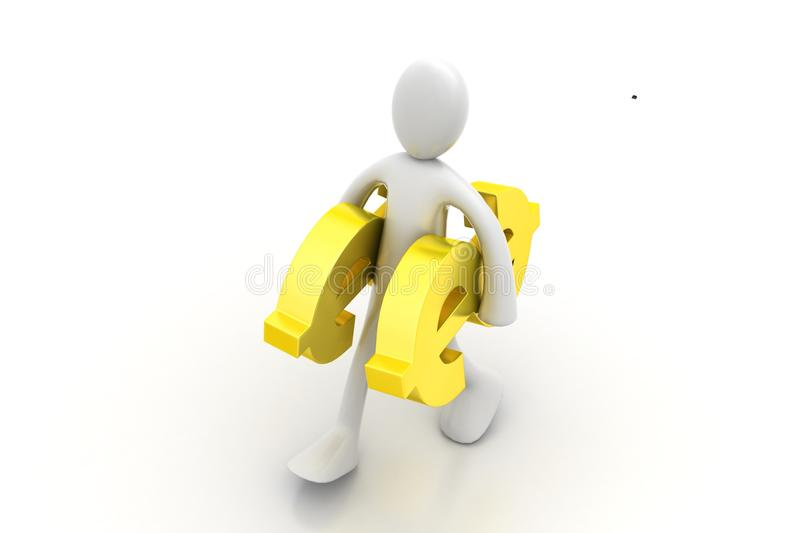 3d people carrying the dollar sign. In white background royalty free illustration