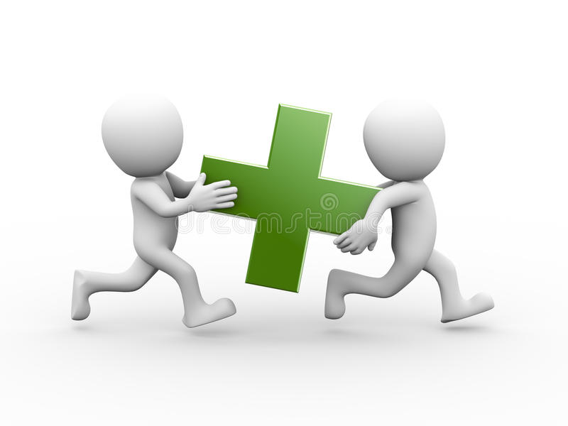 3d people carrying green plus sign stock illustration