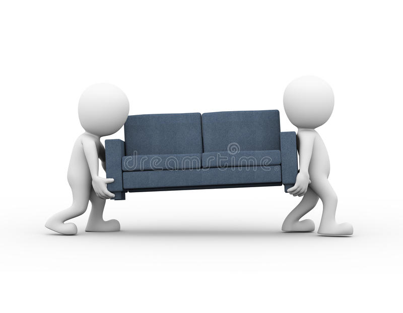 3d people carrying a sofa vector illustration