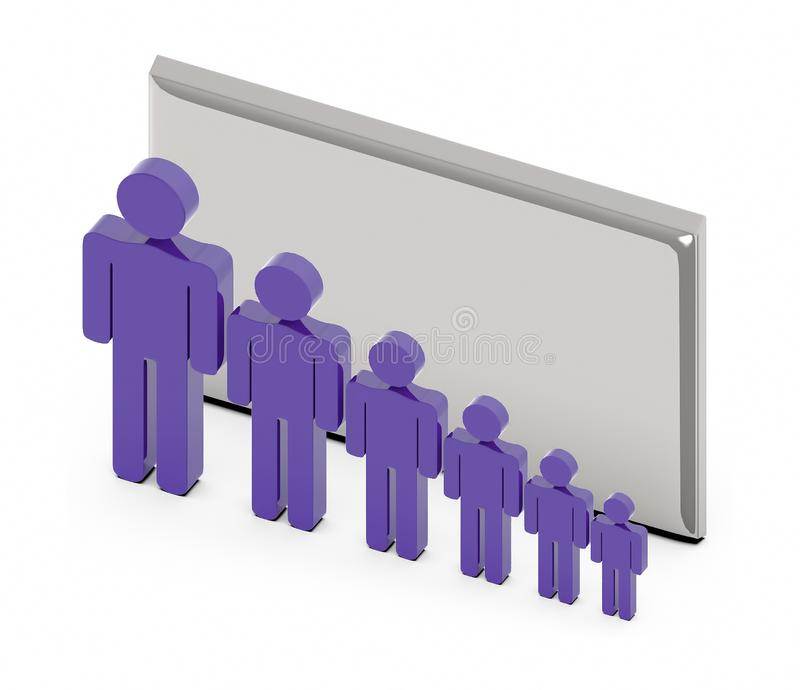 3d people chain sign , team -empty silver board stock illustration
