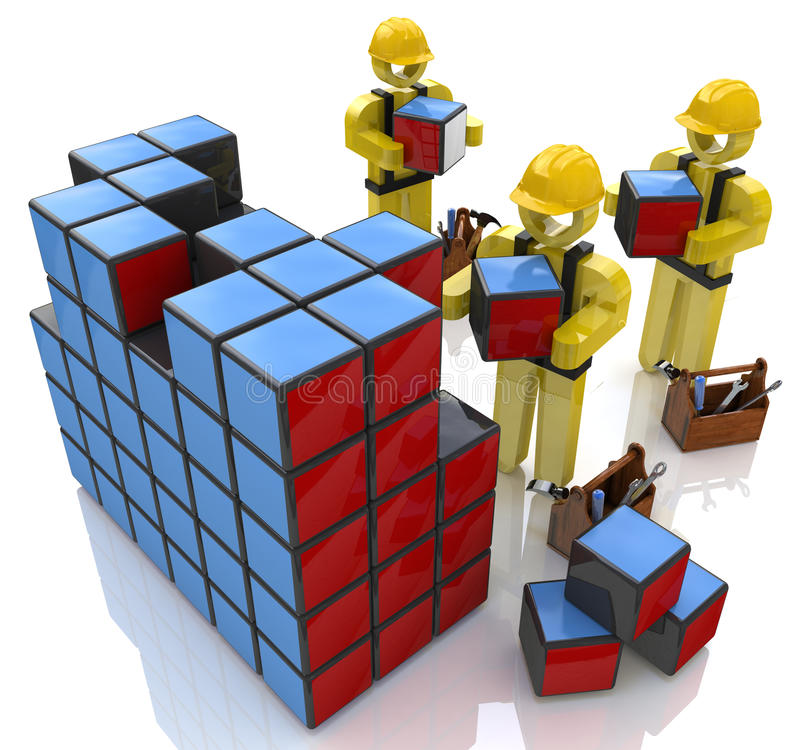 3d people character, in construction helmets to build cubes vector illustration