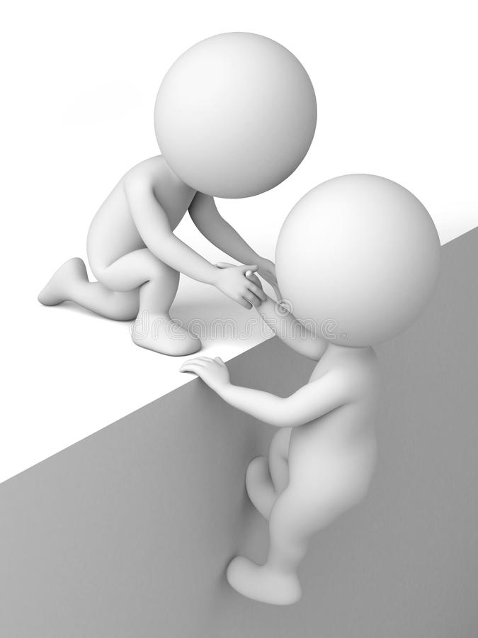 3D people. The 3d people are climbing the wall vector illustration