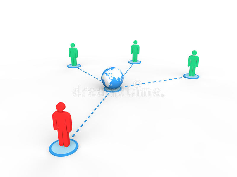 3d people connected to earth globe with a leader royalty free illustration