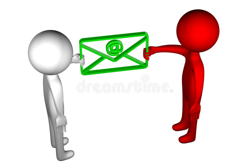 3D People with an envelope stock illustration