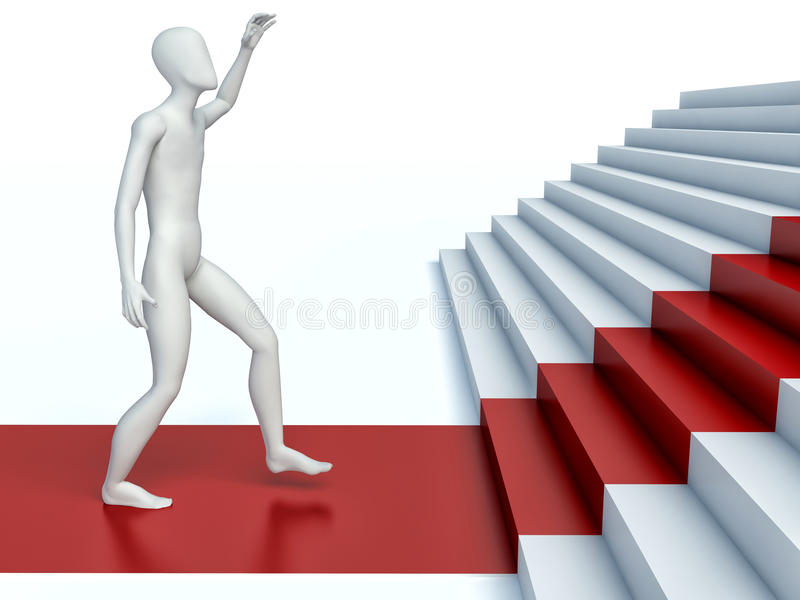 3d people going on a red path upwards on steps vector illustration
