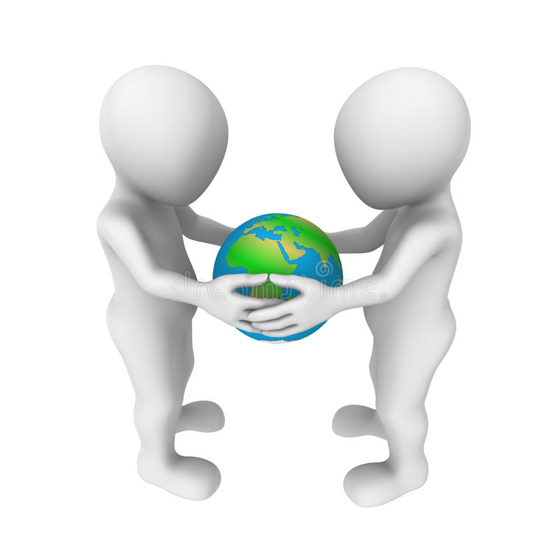 3d people hold the world in hands. 3d white people hold the world in hands stock illustration