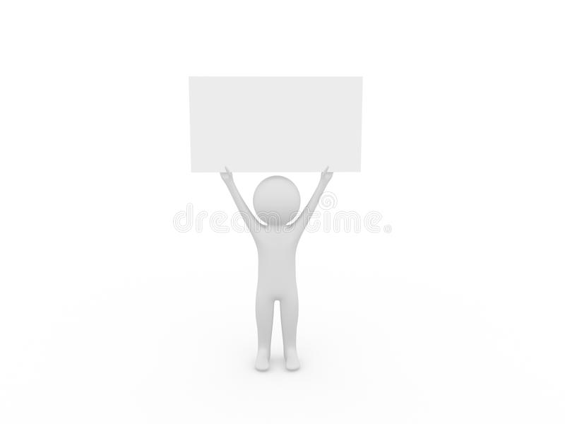 3d people holding a blank board vector illustration