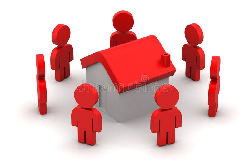 3d people with home, real estate concept royalty free illustration