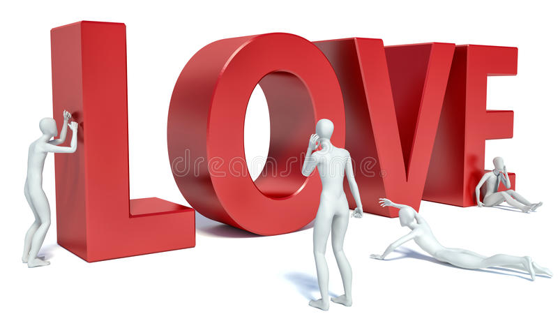 3d people look at the word love royalty free illustration