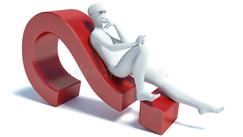 3d people - lying on a question mark royalty free illustration