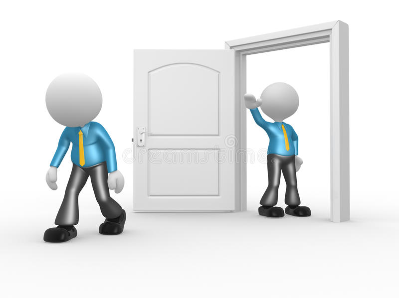 Businessman. 3d people - man, person kicked out the door vector illustration