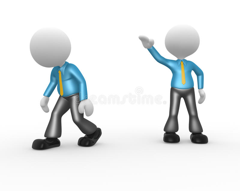 Businessman. 3d people - man, person kicked out. Go ahead stock illustration