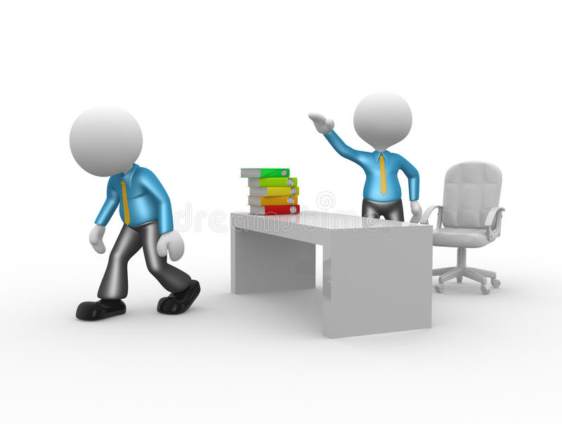 Go ahead. 3d people - man, person kicked out of office. Go ahead royalty free illustration
