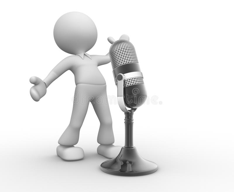 Microphone. 3d people - man, person with a old microphone stock illustration