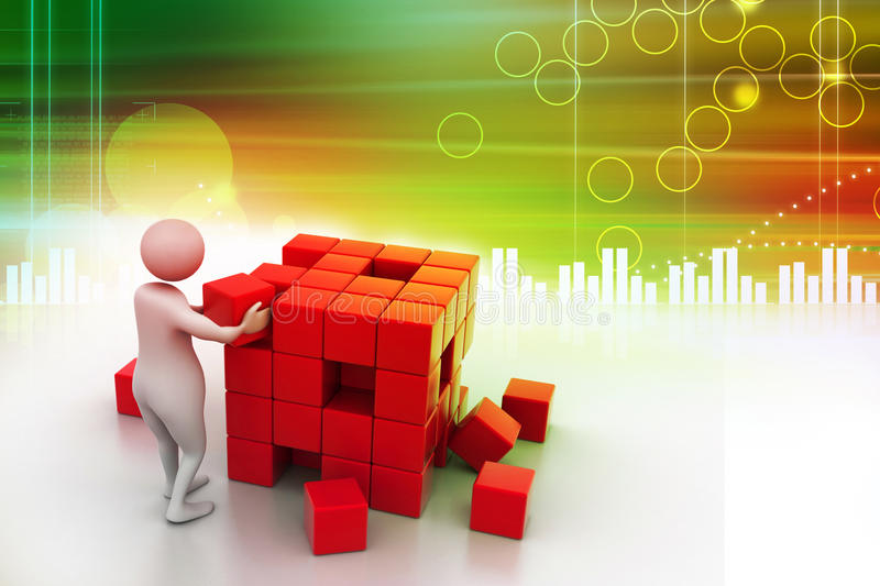 3d people - man, person pushing a cube. In color background royalty free illustration