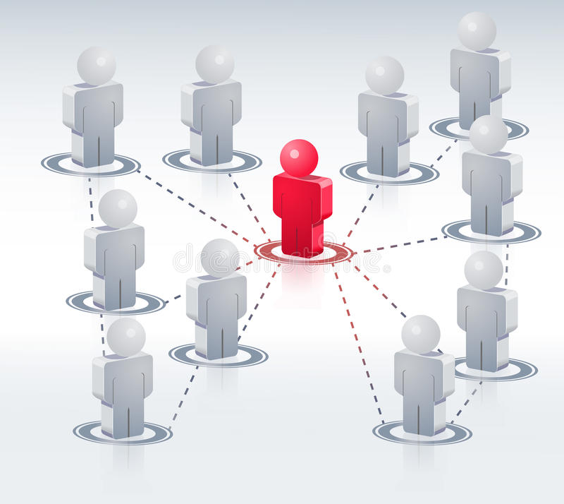 3D People Network. Business network with one person connected to the rest royalty free illustration