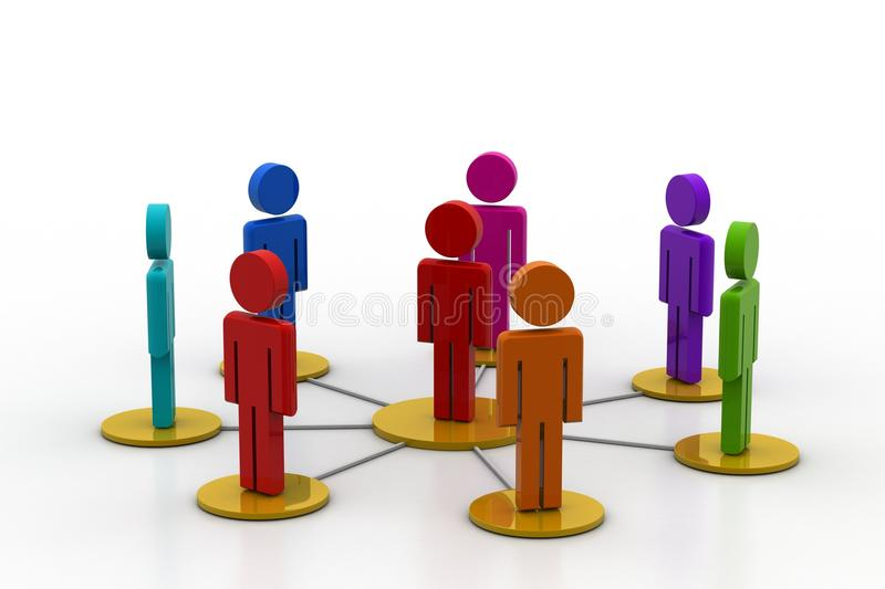 3d people in a network. In white background stock illustration