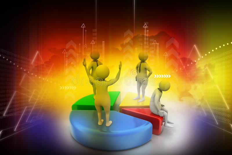 3d people with pie chart, business competition. In color background stock illustration