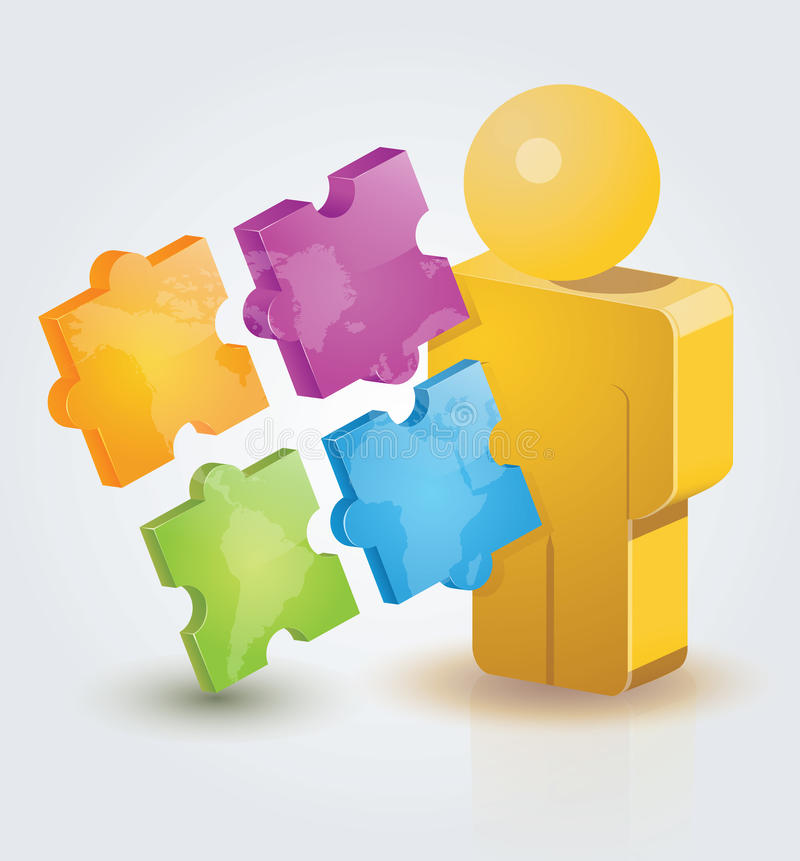 3D People Puzzle stock illustration