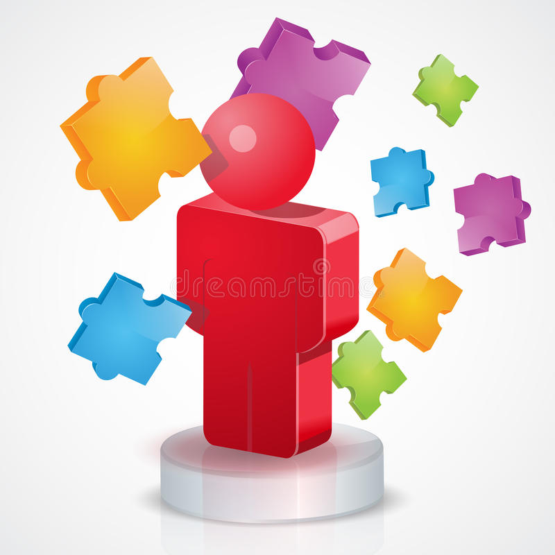 3D People Puzzle vector illustration