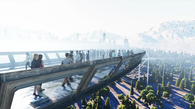 3d people in Sci fi tonnel. Traffic. Concept of future. 3d rendering. stock image