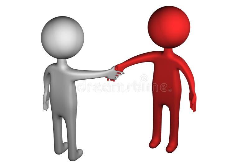 3D People shaking hands. On white background. 3D render stock illustration