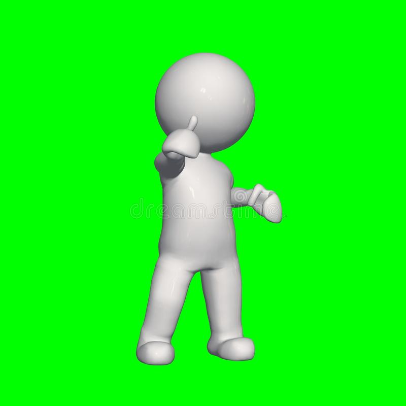 3D people - shows good 1 - green screen royalty free illustration