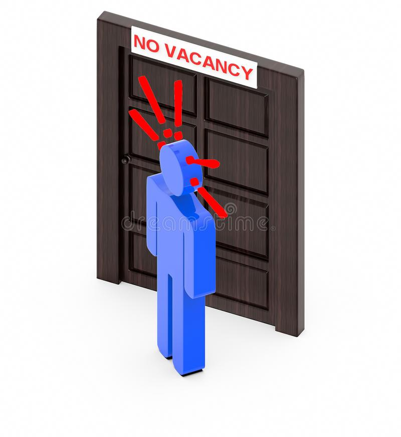 3d people sign and exclamation marks over it-closed door with no vacancy board royalty free illustration