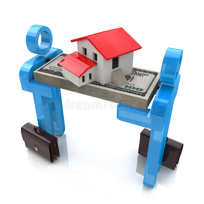 3d people, small house and dollar pack royalty free illustration