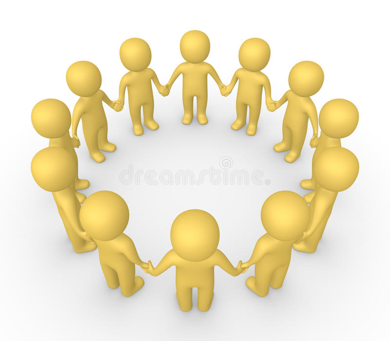 3d people standing in the circle and holding hands together. 3d render royalty free illustration