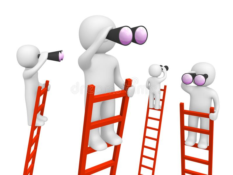 3d people standing on the ladders and looking through binoculars royalty free stock image