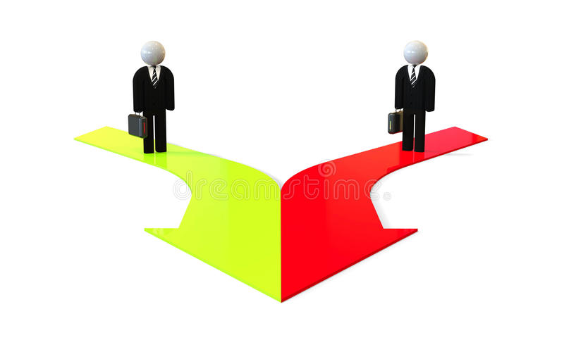 3D people standing on merging arrows. 3D render image representing merging business stock illustration