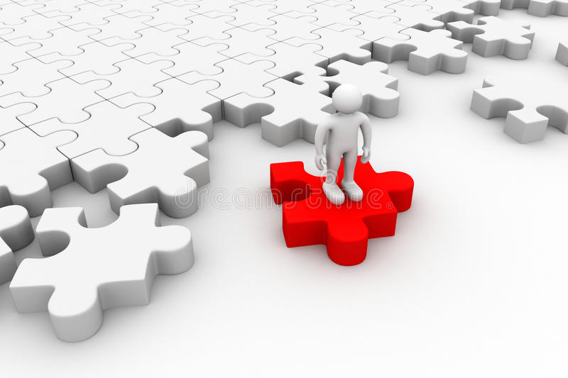 Download 3d People Standing On The Puzzles Stock Illustration - Image: 42846792